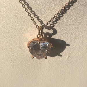 Juicy Couture Gold Tone Rhinestone Heart Necklace
